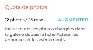 Montre le quota de photos