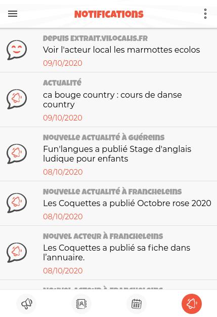 Exemple de liste de notifications
