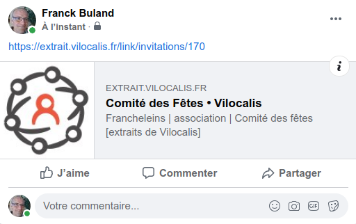 Exemple de partage Facebook d'un acteur local