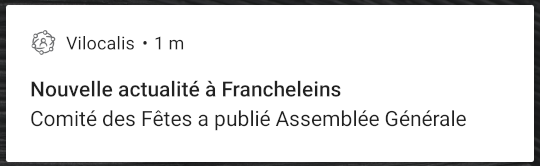 Exemple de notification d'actualité sur Android