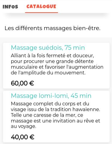 Illustration d'un catalogue de massage, sans réservation