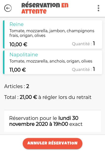 Exemple de réservation en attente d'un client
