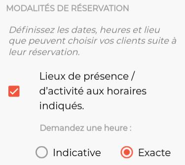 Montre le paramètre de réservation pour le lieu de présence