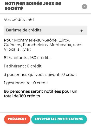 Montre le résumé des crédits pour notifier les communes autour