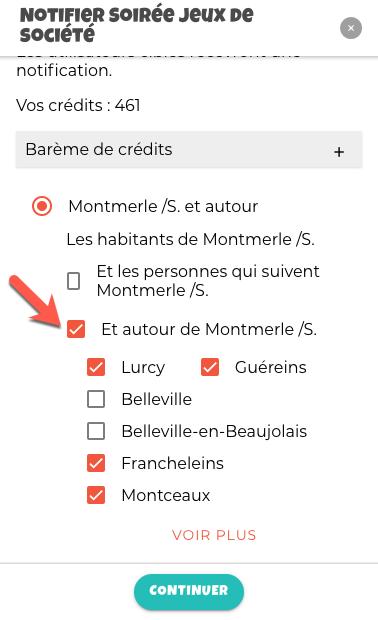 Montre comment choisir les communes autour à notifier