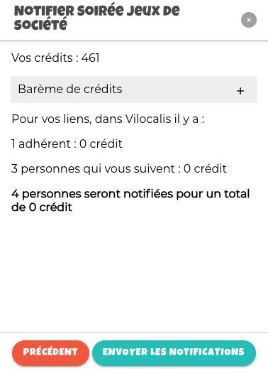 Montre le résumé des crédits pour notifier ses adhérents