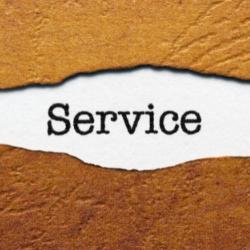 Mot Service entouré de matière artisanale